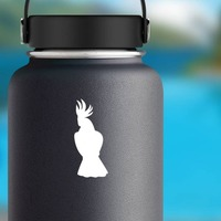 Cockatoo Sitting Sticker on a Water Bottle example
