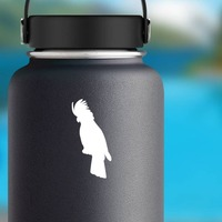 Cockatoo Sticker on a Water Bottle example