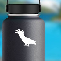 Cockatoo Walking To The Left Sticker on a Water Bottle example