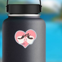 Coffee Cups In Heart Sticker on a Water Bottle example