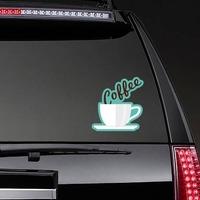 Coffee Text in Mug Sticker on a Rear Car Window example