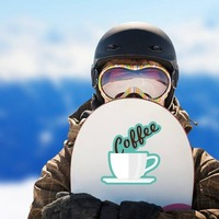 Coffee Text in Mug Sticker on a Snowboard example