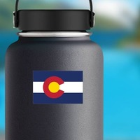 Colorado Co State Flag Sticker on a Water Bottle example