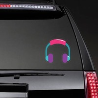 Colorful Headphones Hippie Sticker on a Rear Car Window example