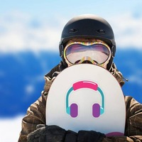 Colorful Headphones Hippie Sticker on a Snowboard example