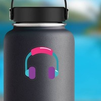 Colorful Headphones Hippie Sticker on a Water Bottle example