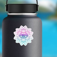 Colorful Lotus with Third Eye Mandala Boho Sticker on a Water Bottle example