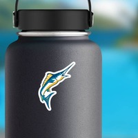 Colorful Marlins Mascot Sticker on a Water Bottle example