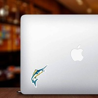 Colorful Marlins Mascot Sticker on a Laptop example