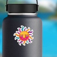 Colorful Sun Hippie Sticker on a Water Bottle example