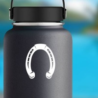 Confident Horseshoe Sticker on a Water Bottle example