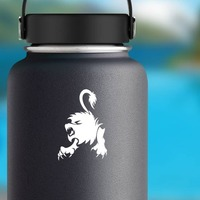 Cool Angry Lion Sticker on a Water Bottle example