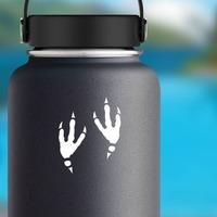 Cool Bird Footprints Sticker on a Water Bottle example