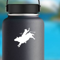 Cool Cowboy Rodeo Bull Rider Sticker on a Water Bottle example