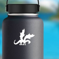 Cool Dragon With Large Wings Sticker on a Water Bottle example