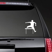 Cool Hurdler Sticker on a Rear Car Window example