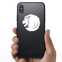Cool Lion Face Sticker on a Phone example