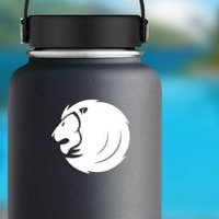 Cool Lion Face Sticker on a Water Bottle example