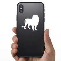 Cool Lion Silhouette Sticker on a Phone example