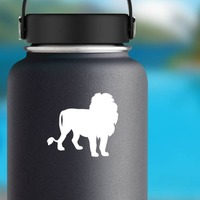 Cool Lion Silhouette Sticker on a Water Bottle example