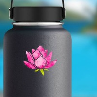Cool Pink Lotus Flower Sticker on a Water Bottle example