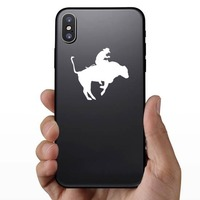 Cool Rodeo Cowboy Bull Rider Sticker on a Phone example