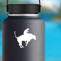 Cool Rodeo Cowboy Bull Rider Sticker on a Water Bottle example