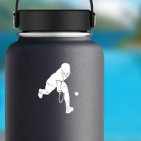 Cool Tennis Player Sticker on a Water Bottle example