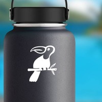 Cool Toucan On A Branch Sticker on a Water Bottle example