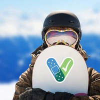 Covid-19 V Vaccine Sticker on a Snowboard example