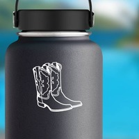 Cowboy Boots Sticker on a Water Bottle example