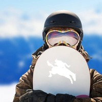 Cowboy Flying Off A Horse Sticker on a Snowboard example