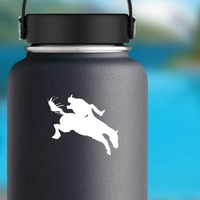 Cowboy Flying Off A Horse Sticker on a Water Bottle example