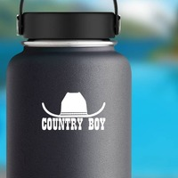 Cowboy Hat  Country Boy Sticker on a Water Bottle example