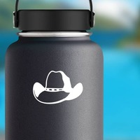 Cowboy Hat With Dots Sticker on a Water Bottle example