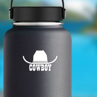 Cowboy Hat With Word Cowboy Sticker on a Water Bottle example