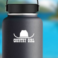 Cowboy Hat With Words Country Girl Sticker on a Water Bottle example