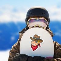 Cowboy Junior Sheriff Mascot Sticker on a Snowboard example