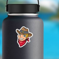 Cowboy Junior Sheriff Mascot Sticker on a Water Bottle example