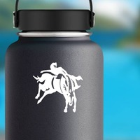 Cowboy Riding A Bareback Bronco Sticker on a Water Bottle example