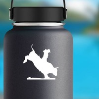 Cowboy Riding A Bucking Bull Sticker on a Water Bottle example
