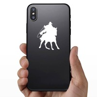 Cowboy Riding A Horse With A Rope Sticker on a Phone example