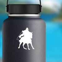 Cowboy Riding A Horse With A Rope Sticker on a Water Bottle example