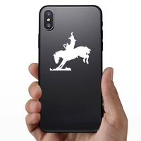 Cowboy Riding A Rodeo Bareback Bronco Sticker on a Phone example