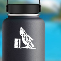 Cowboy Rodeo Barrel Racer Sticker on a Water Bottle example