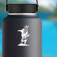 Cowboy Rodeo Bull Rider Sticker on a Water Bottle example