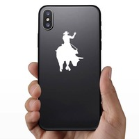 Cowboy Rodeo Bull Rider Waving Sticker on a Phone example