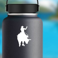 Cowboy Rodeo Bull Rider Waving Sticker on a Water Bottle example