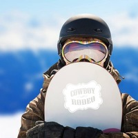 Cowboy Rodeo Lettering Sticker on a Snowboard example