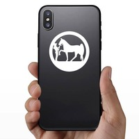 Cowgirl And Her Horse In A Circle Sticker on a Phone example